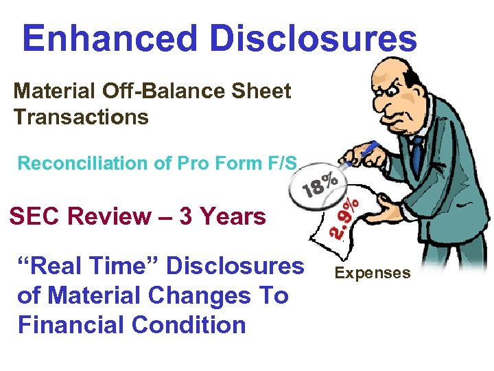 Enhanced Disclosures Material Off-Balance Sheet Transactions Reconciliation of Pro Form F/S SEC Review –