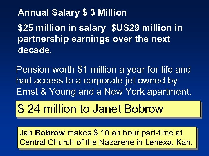 Annual Salary $ 3 Million $25 million in salary $US 29 million in partnership