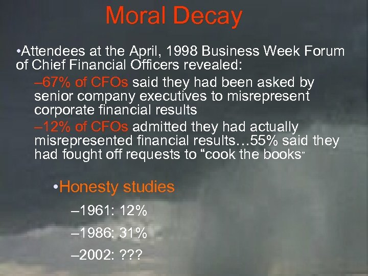 Moral Decay • Attendees at the April, 1998 Business Week Forum of Chief Financial