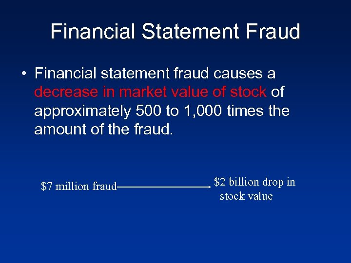 Financial Statement Fraud • Financial statement fraud causes a decrease in market value of