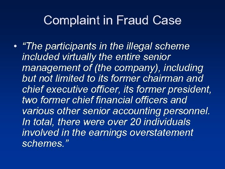 "Complaint in Fraud Case • ""The participants in the illegal scheme included virtually the"