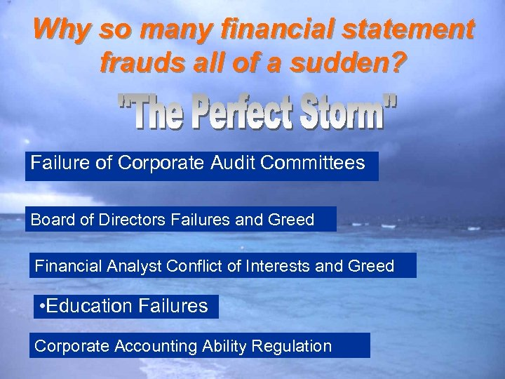 Why so many financial statement frauds all of a sudden? Failure of Corporate Audit