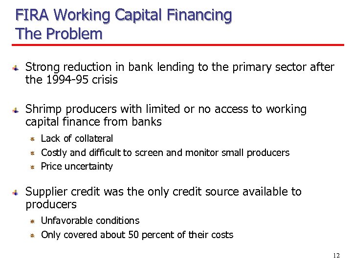 FIRA Working Capital Financing The Problem Strong reduction in bank lending to the primary