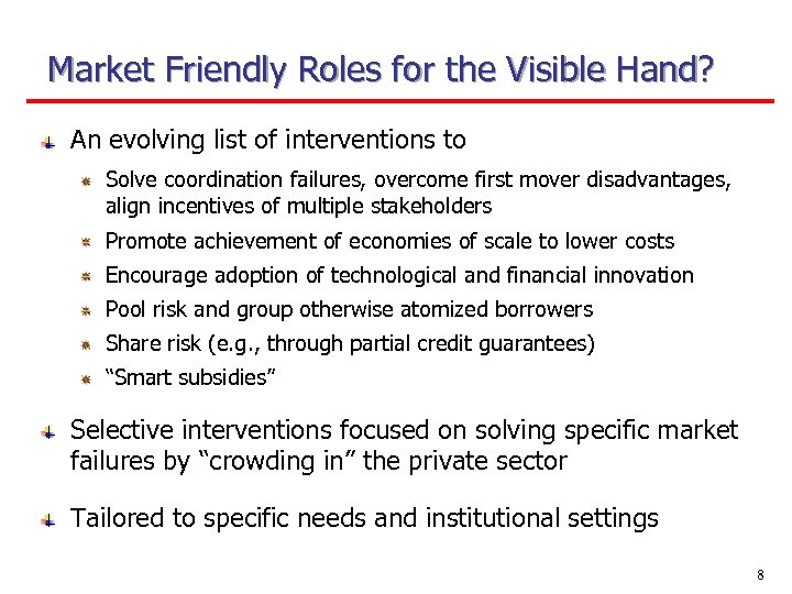 Market Friendly Roles for the Visible Hand? An evolving list of interventions to Solve