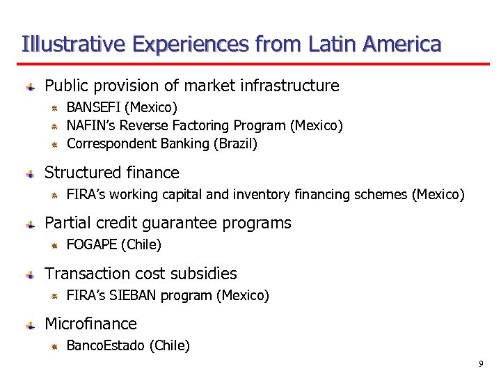 Illustrative Experiences from Latin America Public provision of market infrastructure BANSEFI (Mexico) NAFIN's Reverse