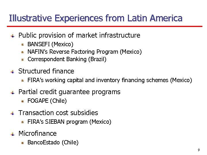 Illustrative Experiences from Latin America Public provision of market infrastructure BANSEFI (Mexico) NAFIN's Reverse