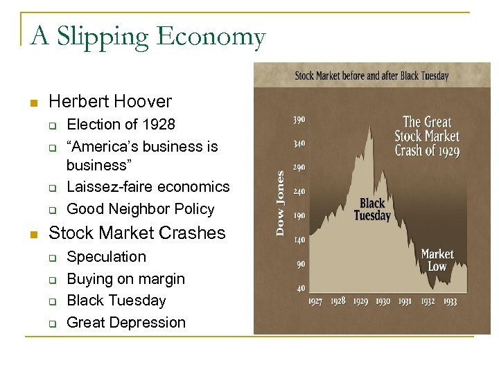 "A Slipping Economy n Herbert Hoover q q n Election of 1928 ""America's business"