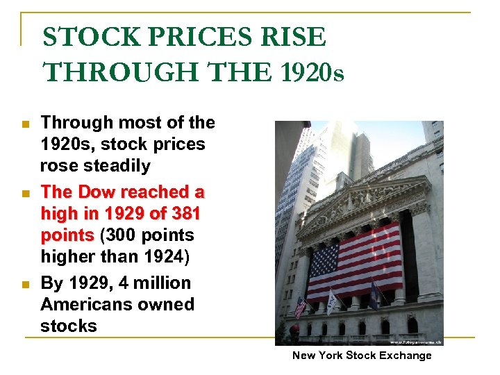 STOCK PRICES RISE THROUGH THE 1920 s n n n Through most of the