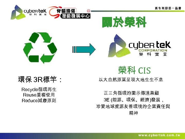 關於榮科 環保 3 R標竿: Recycle循環再生 Reuse重複使用 Reduce減廢原則 榮科 CIS 以大自然原葉呈現大地生生不息 正三角循環的圖示傳達兼顧 3 E (能源、環保、經濟)發展,
