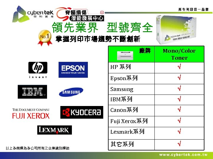 領先業界 型號齊全 掌握列印巿場趨勢不斷創新 廠牌 Mono/Color Toner HP 系列 Epson系列 Samsung IBM系列 Canon系列 Fuji Xerox系列