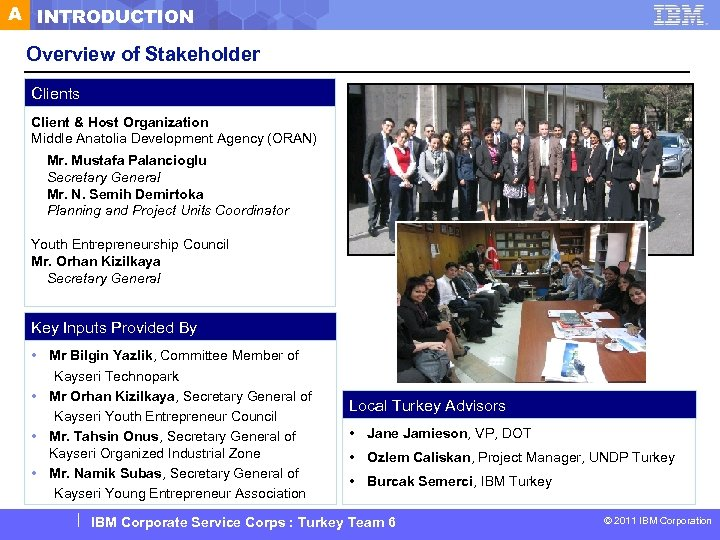 A INTRODUCTION Overview of Stakeholder Clients Client & Host Organization Middle Anatolia Development Agency
