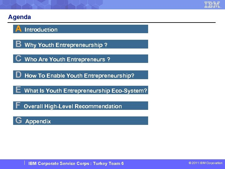 Agenda A Introduction B Why Youth Entrepreneurship ? C Who Are Youth Entrepreneurs ?