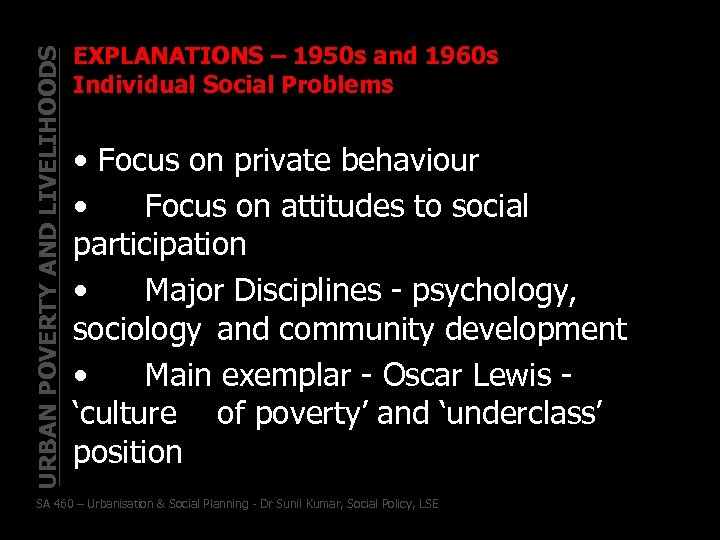 URBAN POVERTY AND LIVELIHOODS EXPLANATIONS – 1950 s and 1960 s Individual Social Problems