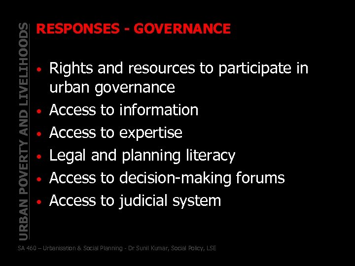 URBAN POVERTY AND LIVELIHOODS RESPONSES - GOVERNANCE • • • Rights and resources to