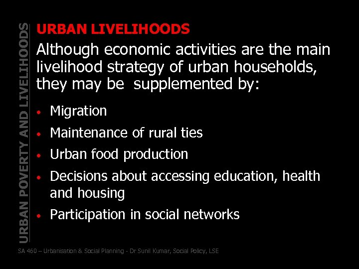 URBAN POVERTY AND LIVELIHOODS URBAN LIVELIHOODS Although economic activities are the main livelihood strategy