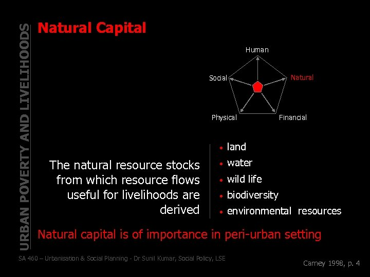 URBAN POVERTY AND LIVELIHOODS Natural Capital Human Social Physical Natural Financial • The natural