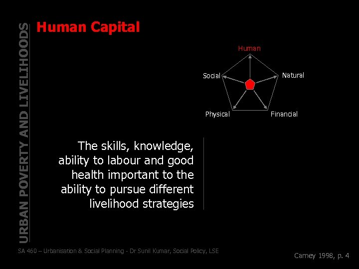 URBAN POVERTY AND LIVELIHOODS Human Capital Human Social Physical Natural Financial The skills, knowledge,