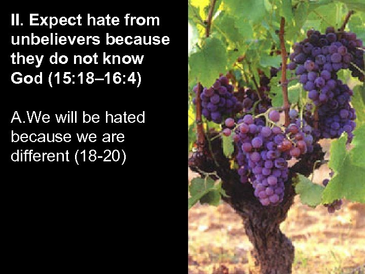 II. Expect hate from unbelievers because they do not know God (15: 18– 16: