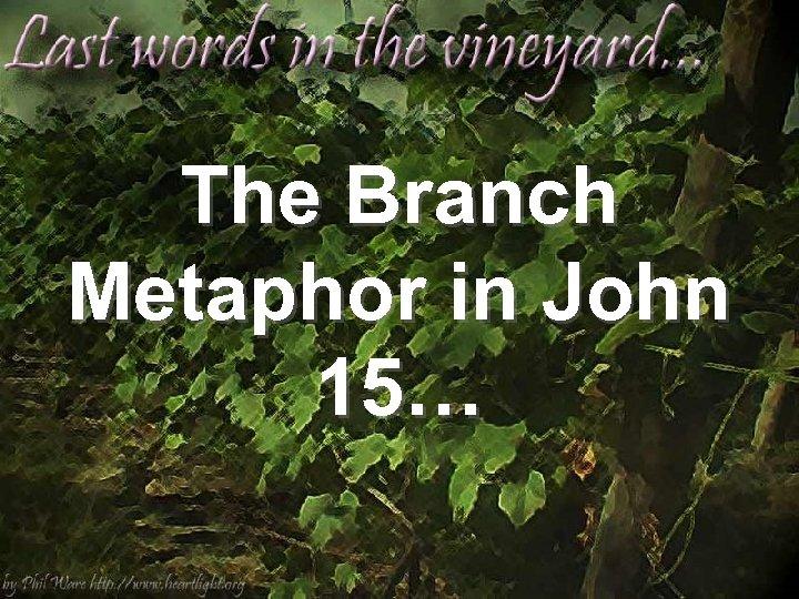 The Branch Metaphor in John 15…
