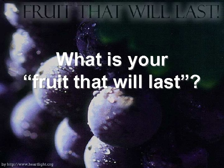"""What is your """"fruit that will last""""?"""