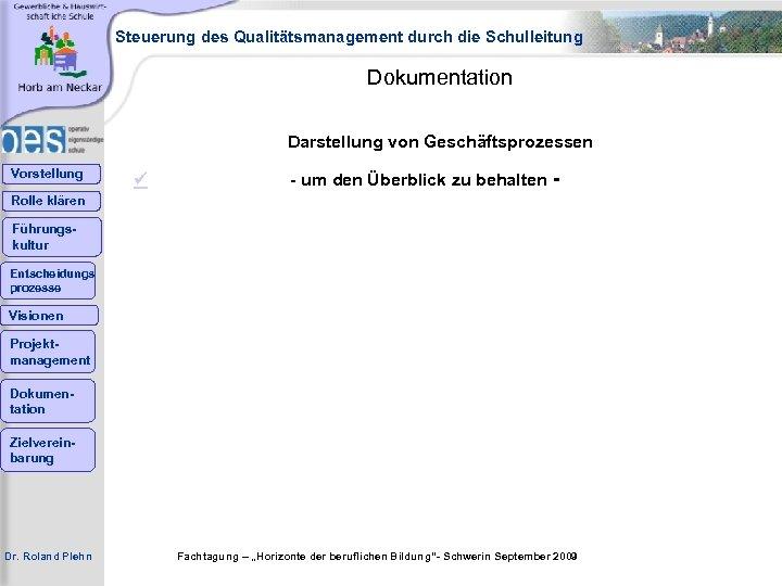 Steuerung des Qualitätsmanagement durch die Schulleitung Dokumentation Darstellung von Geschäftsprozessen Vorstellung - um den