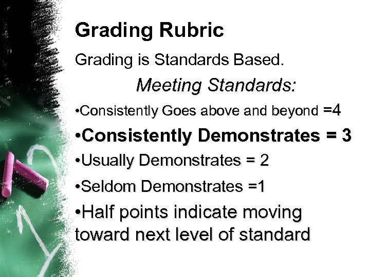 Grading Rubric Grading is Standards Based. Meeting Standards: • Consistently Goes above and beyond