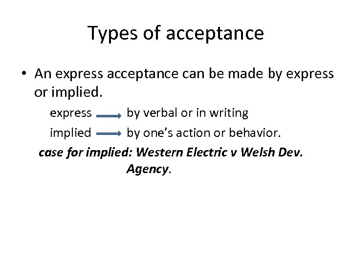 Types of acceptance • An express acceptance can be made by express or implied.
