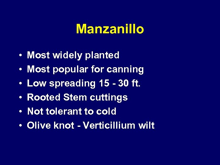 Manzanillo • • • Most widely planted Most popular for canning Low spreading 15