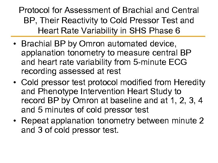 Protocol for Assessment of Brachial and Central BP, Their Reactivity to Cold Pressor Test