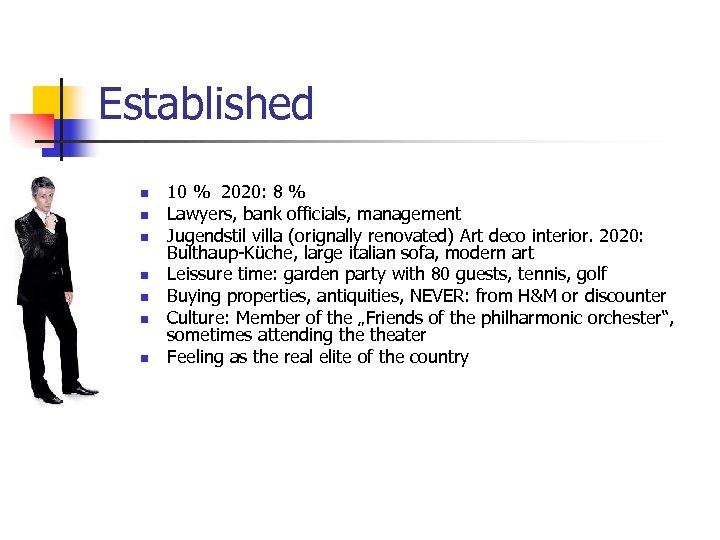 Established n n n n 10 % 2020: 8 % Lawyers, bank officials, management