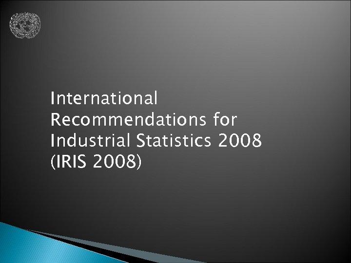 International Recommendations for Industrial Statistics 2008 (IRIS 2008)