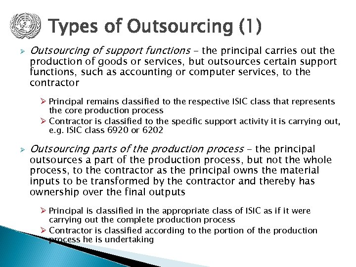 Types of Outsourcing (1) Ø Outsourcing of support functions - the principal carries out