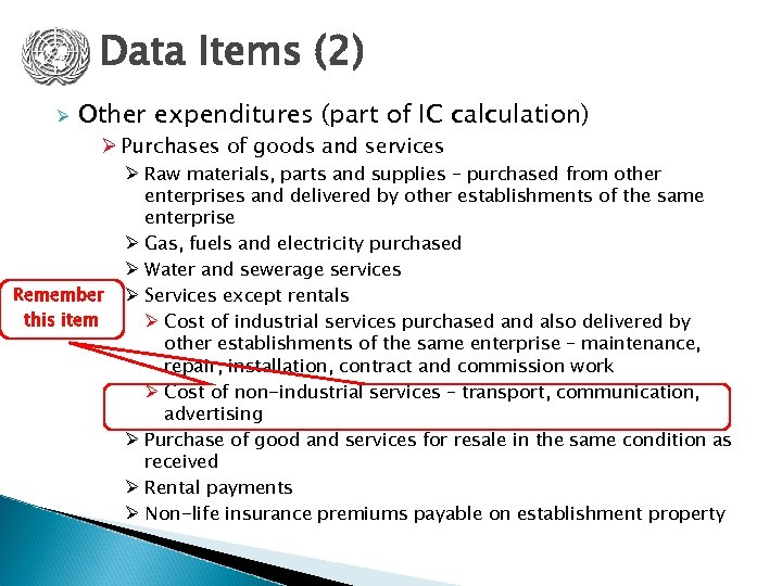 Data Items (2) Ø Other expenditures (part of IC calculation) Ø Purchases of goods