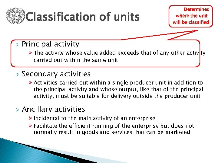 Classification of units Ø Determines where the unit will be classified Principal activity Ø