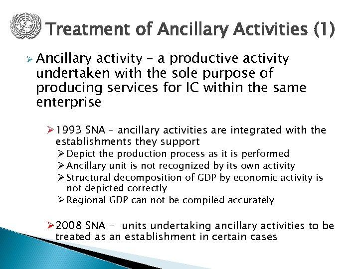 Treatment of Ancillary Activities (1) Ø Ancillary activity – a productive activity undertaken with
