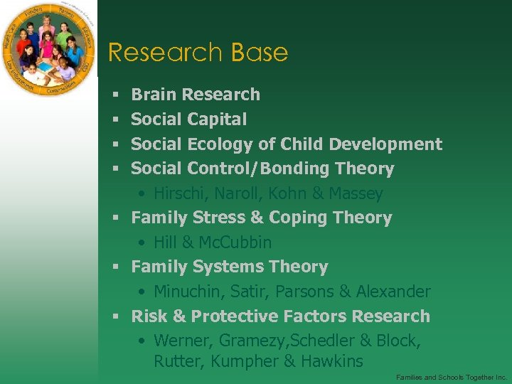 Research Base Brain Research Social Capital Social Ecology of Child Development Social Control/Bonding Theory