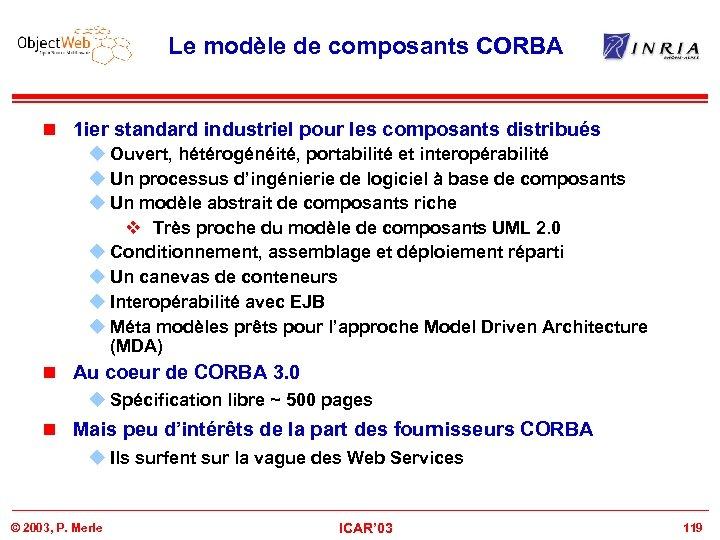 Le modèle de composants CORBA n 1 ier standard industriel pour les composants distribués