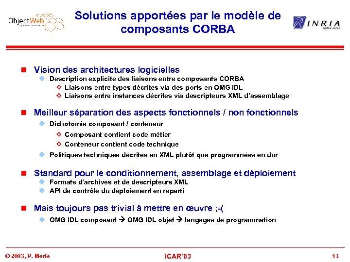 Solutions apportées par le modèle de composants CORBA n Vision des architectures logicielles u