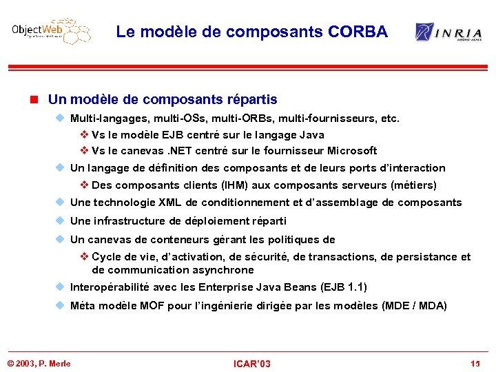 Le modèle de composants CORBA n Un modèle de composants répartis u Multi-langages, multi-OSs,