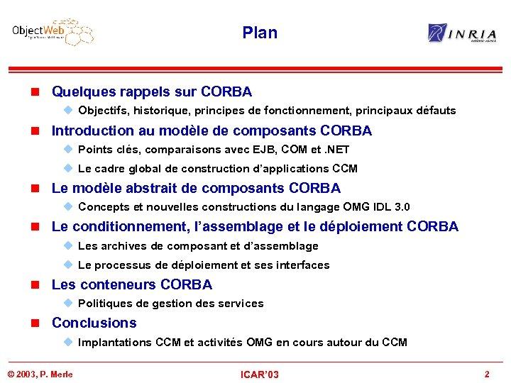 Plan n Quelques rappels sur CORBA u Objectifs, historique, principes de fonctionnement, principaux défauts