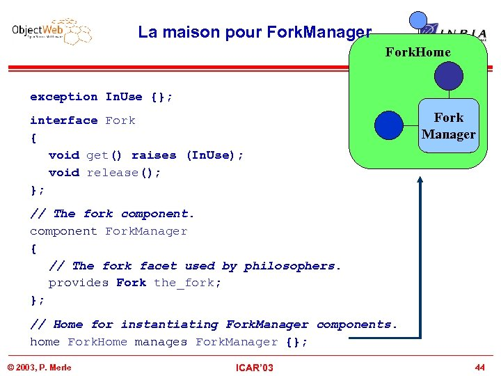 La maison pour Fork. Manager Fork. Home exception In. Use {}; interface Fork {