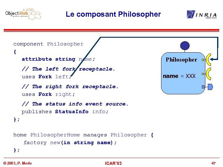 Le composant Philosopher component Philosopher { attribute string name; Philosopher // The left fork