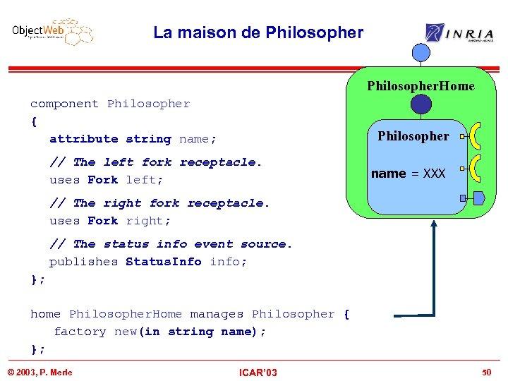 La maison de Philosopher. Home component Philosopher { attribute string name; Philosopher // The