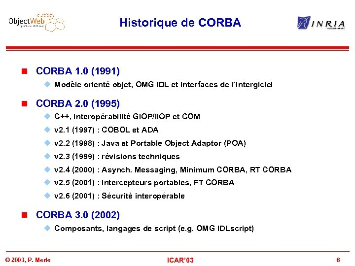 Historique de CORBA n CORBA 1. 0 (1991) u Modèle orienté objet, OMG IDL