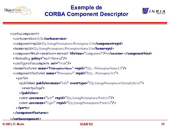 Exemple de CORBA Component Descriptor <corbacomponent> <corbaversion>3. 0</corbaversion> <componentrepid>IDL: Dining. Philosophers/Philosopher: 1. 0</componentrepid> <homerepid>IDL: