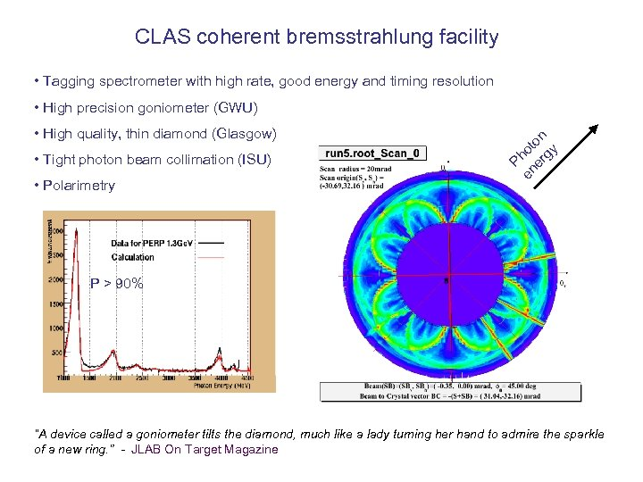 CLAS coherent bremsstrahlung facility • Tagging spectrometer with high rate, good energy and timing