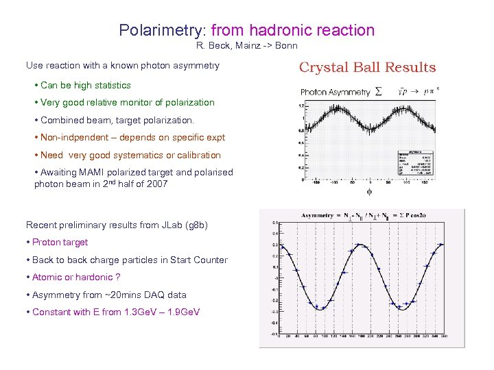 Polarimetry: from hadronic reaction R. Beck, Mainz -> Bonn Use reaction with a known