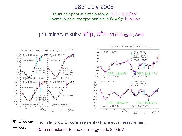g 8 b: July 2005 Polarized photon energy range: 1. 3 – 2. 1