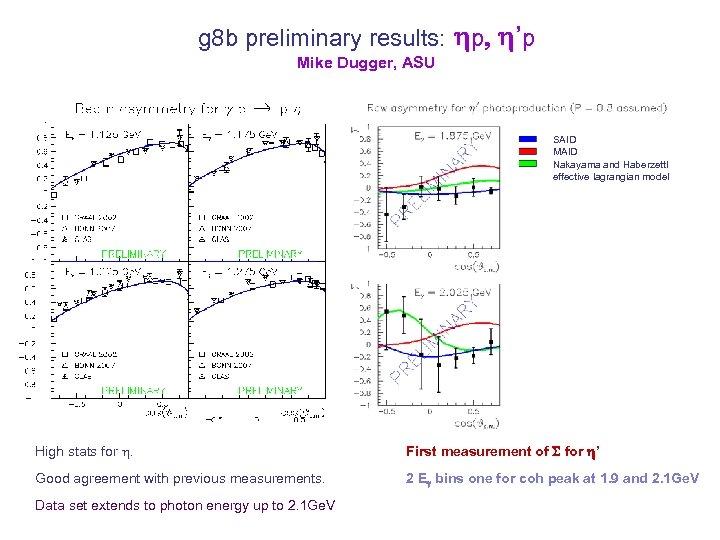 g 8 b preliminary results: hp, h'p Mike Dugger, ASU SAID MAID Nakayama and