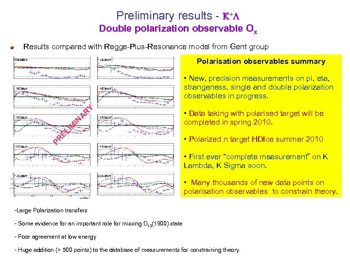 Preliminary results - +L Double polarization observable Ox Results compared with Regge-Plus-Resonance model from